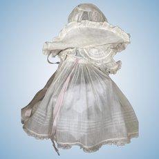 Gorgeous Two Piece Antique White Dress and Fabulous Bonnet!