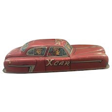Tin Toy Friction X car 1950 Rare