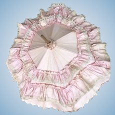 "21"" Vintage Pink Ruffle Doll Umbrella"