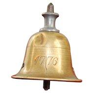 """Bicentennial Liberty Bell 1776-1876 Antique Doll Top!! All Brass! Tiny 3.5""""!"""