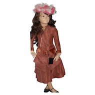 """46"""" Rare Child  Manikin wearing Fabulous Antique Dress With Feather Hat!!"""