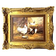 Painting on Board of Chickens by E. Herring