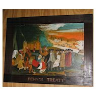 Folk Art Painting  Penn's Treaty