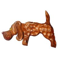 Delightful 40's Hound Dog Brooch Deeply Carved and Hammered