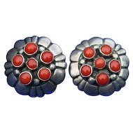 Unsigned Frank Patania, Sr.  Coral Concho Sterling Silver Earrings 60's