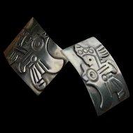 Beto Mexico Sterling Silver Warrior Earrings 60's