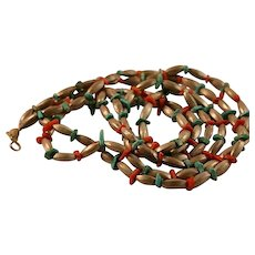 Native American 800-900 Silver Turquoise Coral Necklace 50's