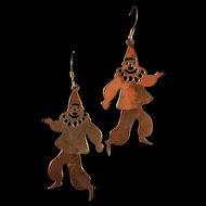 Bizarre Sterling Dancing Clown Earrings