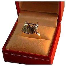 Retro 12 Carat Aquamarine 14K Gold Vintage Ring