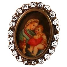 Hand Painted Raphael's Madonna Della 800 Silver Lovely Brooch Pendant