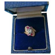 Art Deco 14K Gold Diamond Pink Corundum Ring