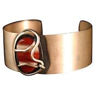 ORB Agate  Mid Century Sterling Cuff Bracelet