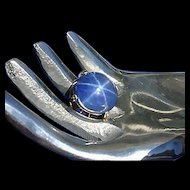 Big Art Deco Crystal Star Sterling Silver Ring