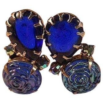Molded Carnival Glass Cobalt Cabs Earrings 50's