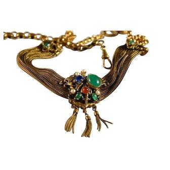 30's/40's Germany Semi Precious Stones Fob Necklace Stunning