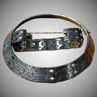 Amazing Andres Jaimes Sterling Silver Taxco Mexico Bracelet & Necklace 70's
