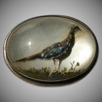 Essex Crystal Sterling Late Victorian or Edwardian Pheasant Brooch