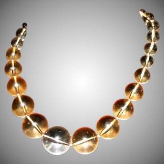 Grand Glowing Lucite Bobbles signed Japan Necklace