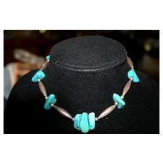 Native American Turquoise Silver Bench Bead Necklace