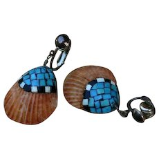 Santo Domingo Kewa 40's/50's Mosaic Shell Turquoise Sterling Silver Earrings