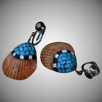 Santo Domingo Kewa 40's/50's Mosaic Shell Turquoise Sterling Silver Earrings