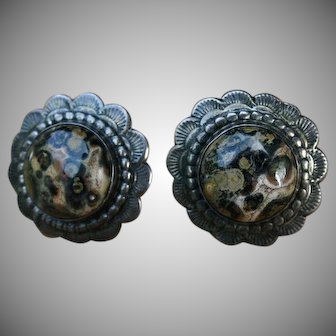 Signed & Detailed Native American Agate Sterling Silver Earrings