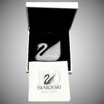Swarovski Limited Jeweler's Collection Ex Large Swan Brooch Box & Paperwork