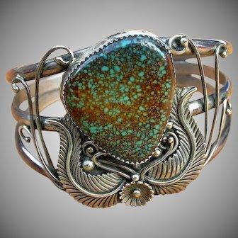 Stunning Natural Large Turquoise Signed Sterling Native American Bracelet