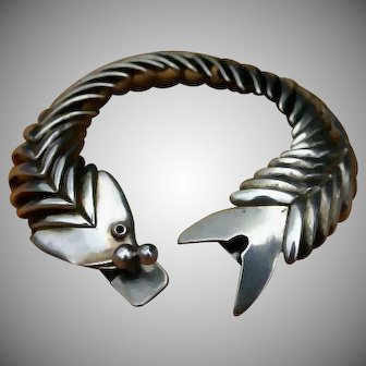 XL D'Molina Signed 70's Mexican Fish Sterling Silver Bracelet