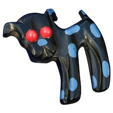 40's/50's Hand Carved & Painted Blue Polka Dot Dog