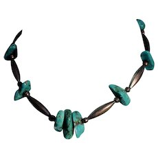 Native American Turquoise Nugget Sterling Silver Bench Bead Necklace