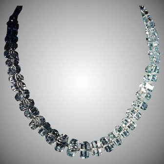 Dazzling Crystal Step Cut 40's/50's Necklace 1/20th 12K GF Clasp