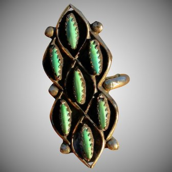 Exotic Zuni Turquoise Sterling Silver Ring Large 60's/70's
