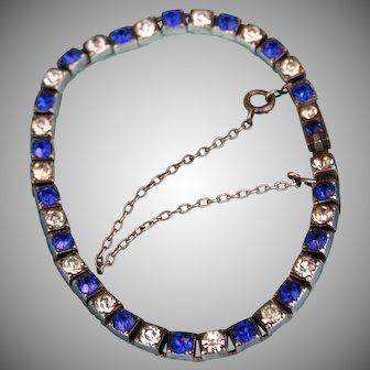 Art Deco Signed Fishel & Nessler Sapphire Paste Crystal Sterling Silver Bracelet