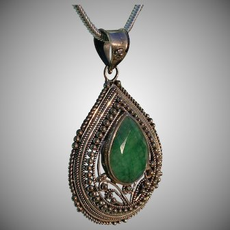India Lovely Sterling Silver Detailed Pendant Necklace