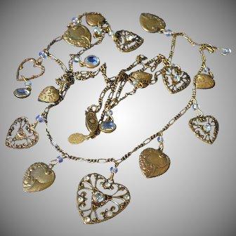 Glass Works Studio Vintage Hearts Necklace