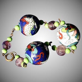 20's Deco Dragon Enamel Amethyst Jade Bracelet Stunning