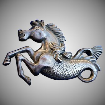Mythical Hippocampus Sterling Signed SB Brooch Pin