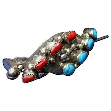 Native American Coral Turquoise Sterling Silver Hair Ornament Bracelet Etc