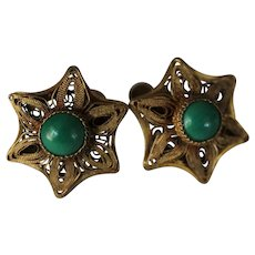 Chinese Export 20's/30's Silver Gilt Green Stone Earrings