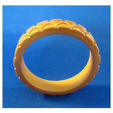 Hand Carved Butterscotch Bakelite Bangle