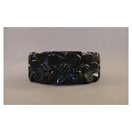 Black Clamper Carved Bakelite Bracelet