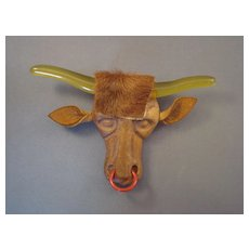 """ELZAC' Steer Head - Lucite/wood/leather Pin"