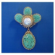 """Corocraft"" Faux Jade with Faux Pearl Brooch"