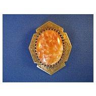 Art Nouveau Coral Colored Art Glass Brooch