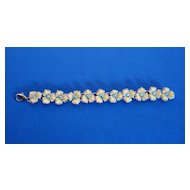 Plastic Flower/Rhinestone Bracelet