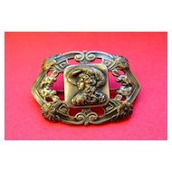 Brooch - Art Nouveau Lady /Hat