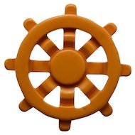 Nautical - Ship's  Wheel Bakelite Pin