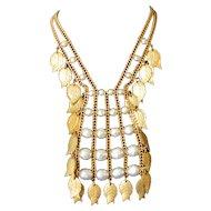 'Miriam Haskell' Baroque Pearl Bib Necklace
