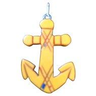 Bakelite - Carved Anchor Charm or Pendant